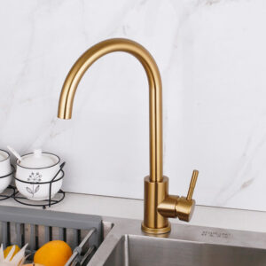 JIENI Brushed Gold Bathroom Basin Sink Mixer Tap Faucet 360 Swivel Kitchen Faucet Tap Rotated Stainless Steel Water Mixer Tap